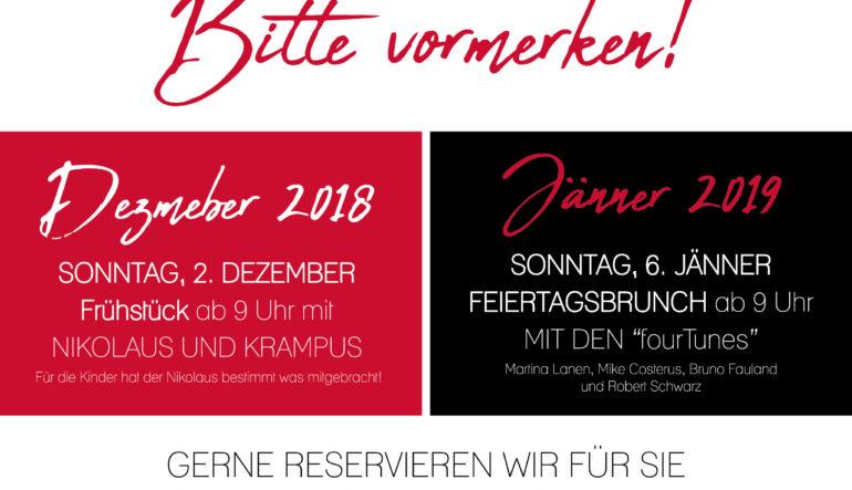 Nikolaus-Krampus Frühstück am Sonntag, 2. Dezember
